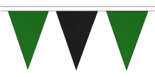 MID GREEN AND BLACK TRIANGULAR BUNTING - 10m / 20m / 50m LENGTHS